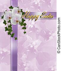orchidées, paques, lierre, frontière