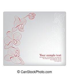 orchid., card., mère, salutation, vecteur, jour