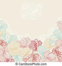 orchid., fleur, résumé, seamless, élégance, fond