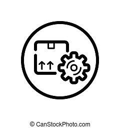 order., expédition, courant, circle., gear., contour, box., commerce, icône, paquet, vecteur, illustration
