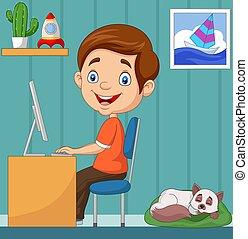 ordinateur domestique, personnel, petit garçon, fonctionnement