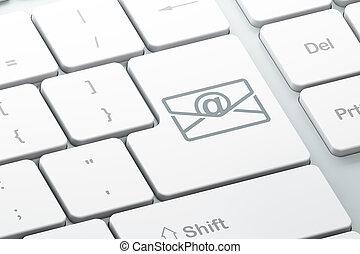ordinateur gestion, fond, clavier, email, concept: