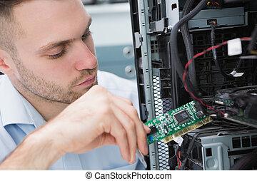 ordinateur il, problème, professionnel, fixation, jeune