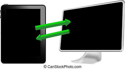 ordinateur pc, connecte, tablette
