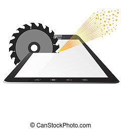 ordinateur pc, scies, circulaire, tablette