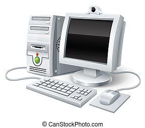 ordinateur pc, souris, moniteur, clavier