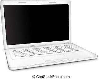 ordinateur portable, écran, noir, argent, vide