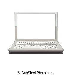 ordinateur portable, écran, vide