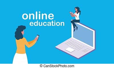 ordinateur portable, étudiant, ligne, femme, education, utilisation