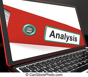 ordinateur portable, analyse, fichier, analysé, données, projection