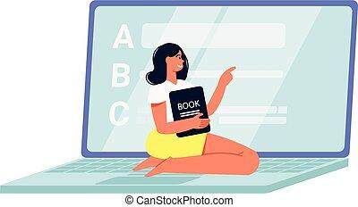 ordinateur portable, apprentissage, composition, éloigné