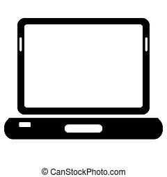 ordinateur portable, arrière-plan., vecteur, noir, blanc, icône