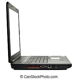 ordinateur portable, blanc, isolé