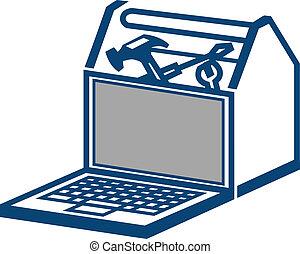 ordinateur portable, boîte outils