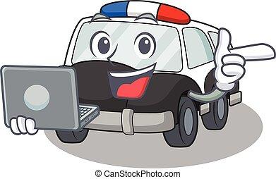 ordinateur portable, caractère, voiture, fonctionnement, police, frais