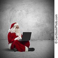 ordinateur portable, claus, santa
