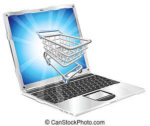 ordinateur portable, concept, achats, internet