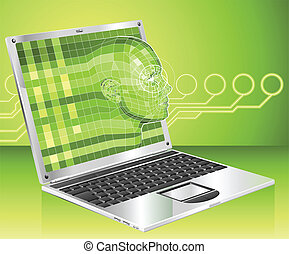 ordinateur portable, concept, fond, illustration, femme
