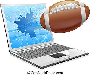 ordinateur portable, concept, football