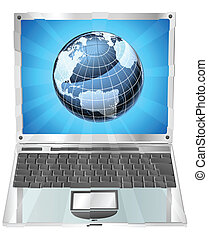 ordinateur portable, concept, globe