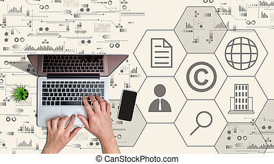 ordinateur portable, concept., mains, protection, propriété, intellectuel