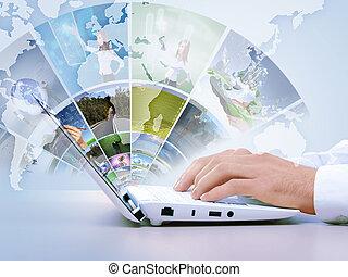 ordinateur portable, concept, moderne, multimédia