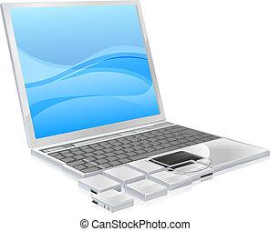 ordinateur portable, concept, morceaux