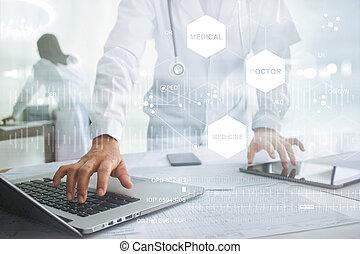 ordinateur portable, concept, réseau, tablette, docteur, monde médical, moderne, virtuel, connexion, toucher, stéthoscope, interface, médecine, technologie, écran, icône