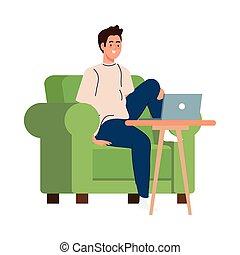 ordinateur portable, conception, fonctionnement, dessin animé, homme, vecteur, chaise