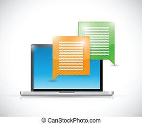 ordinateur portable, conception, message, illustration