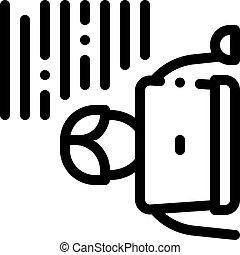 ordinateur portable, contour, vecteur, illustration, icône, écrivain