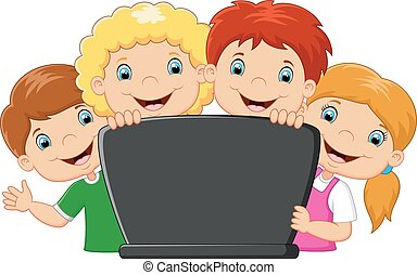 ordinateur portable, dessin animé, famille, heureux