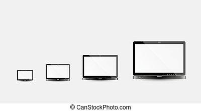 ordinateur portable, différent, taille
