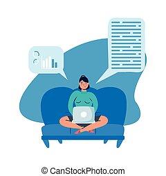 ordinateur portable, divan, vecteur, conception, femme
