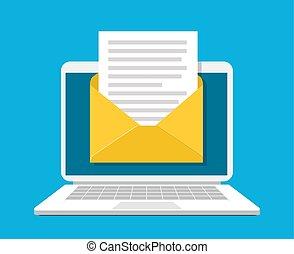 ordinateur portable, document, enveloppe, screen.