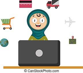 ordinateur portable, femme, blanc, illustration, vecteur, arrière-plan.