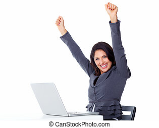 ordinateur portable, femme, computer., business, heureux