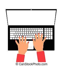 ordinateur portable, femme, illustration, main