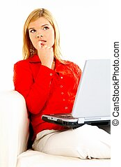 ordinateur portable, femmes, divan