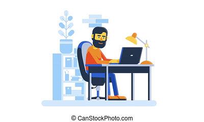 ordinateur portable, fonctionnement, maison, ligne, homme