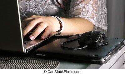 ordinateur portable, girl, fonctionnement, jeune