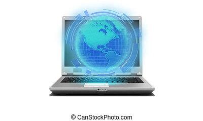 ordinateur portable, global, internet