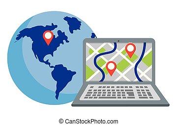ordinateur portable, globe