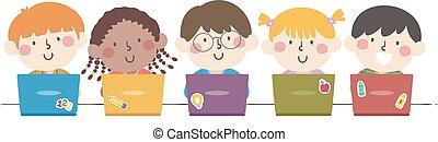 ordinateur portable, gosses, illustration, groupe, étudiants