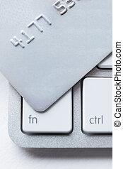 ordinateur portable, haut, crédit, clavier, fin, carte