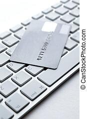 ordinateur portable, haut, crédit, clavier, fin, carte, vue