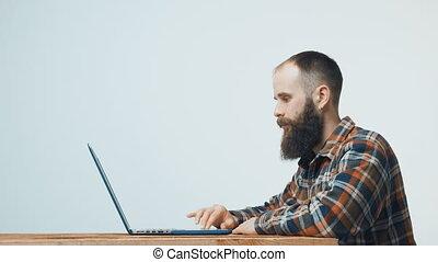 ordinateur portable, hipster, fonctionnement, homme
