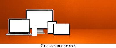 ordinateur portable, informatique, bannière, tablette orange, téléphone, mobile, numérique, pc.