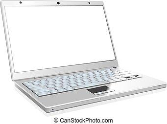 ordinateur portable, isolé, arrière-plan., vide, blanc écran
