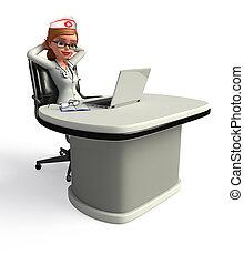 ordinateur portable, jeune docteur